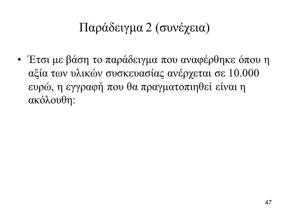 47 Παράδειγμα 2 (συνέχεια) Έτσι με βάση το παράδειγμα που αναφέρθηκε όπου η αξία των υλικών συσκευασίας ανέρχεται σε 10.000 ευρώ, η εγγραφή που θα πραγματοπιηθεί είναι η ακόλουθη: