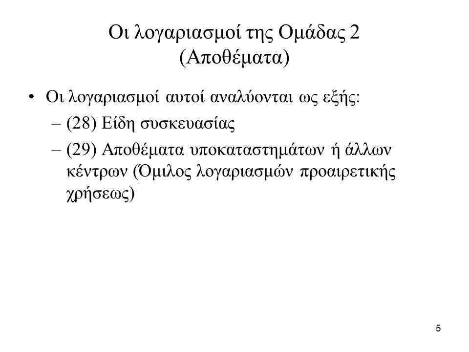 5 Οι λογαριασμοί της Ομάδας 2 (Αποθέματα) Οι λογαριασμοί αυτοί αναλύονται ως εξής: –(28) Είδη συσκευασίας –(29) Αποθέματα υποκαταστημάτων ή άλλων κέντρων (Όμιλος λογαριασμών προαιρετικής χρήσεως)