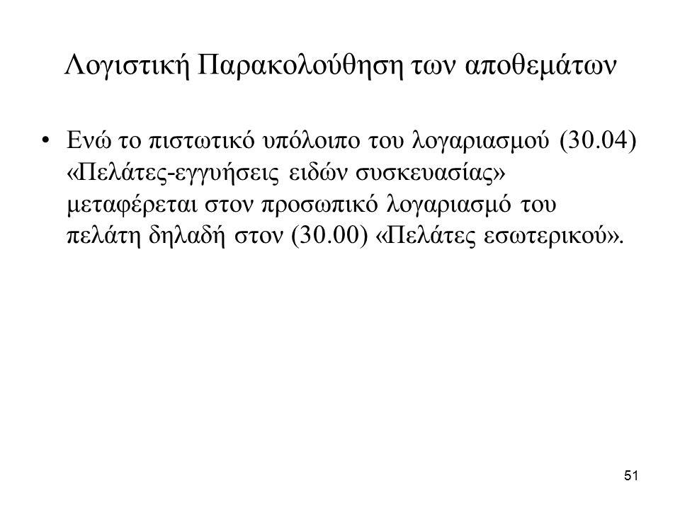 51 Λογιστική Παρακολούθηση των αποθεμάτων Ενώ το πιστωτικό υπόλοιπο του λογαριασμού (30.04) «Πελάτες-εγγυήσεις ειδών συσκευασίας» μεταφέρεται στον προσωπικό λογαριασμό του πελάτη δηλαδή στον (30.00) «Πελάτες εσωτερικού».
