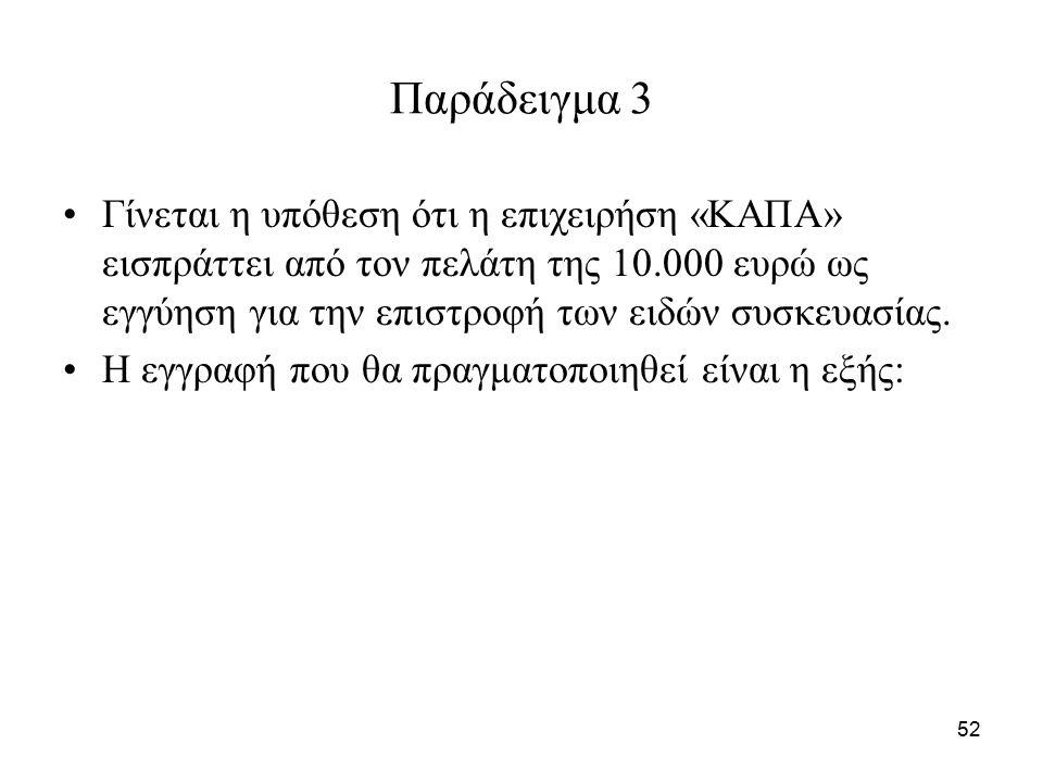 52 Παράδειγμα 3 Γίνεται η υπόθεση ότι η επιχειρήση «ΚΑΠΑ» εισπράττει από τον πελάτη της 10.000 ευρώ ως εγγύηση για την επιστροφή των ειδών συσκευασίας.