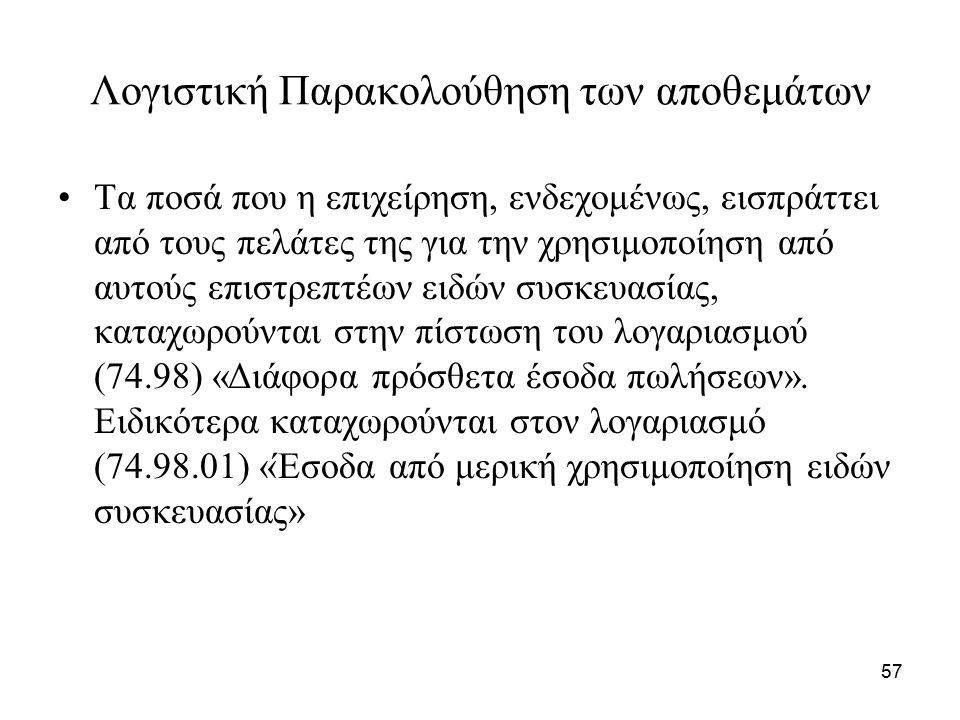 57 Λογιστική Παρακολούθηση των αποθεμάτων Τα ποσά που η επιχείρηση, ενδεχομένως, εισπράττει από τους πελάτες της για την χρησιμοποίηση από αυτούς επιστρεπτέων ειδών συσκευασίας, καταχωρούνται στην πίστωση του λογαριασμού (74.98) «Διάφορα πρόσθετα έσοδα πωλήσεων».