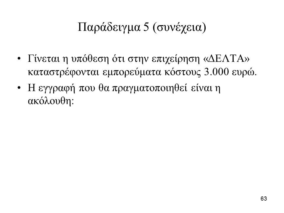 63 Παράδειγμα 5 (συνέχεια) Γίνεται η υπόθεση ότι στην επιχείρηση «ΔΕΛΤΑ» καταστρέφονται εμπορεύματα κόστους 3.000 ευρώ.