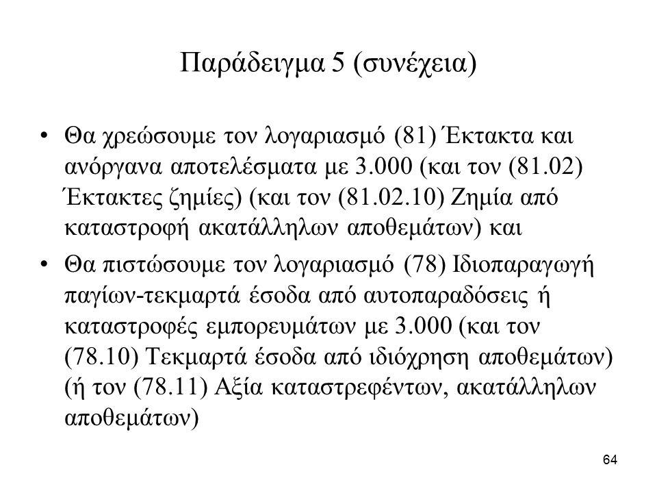 64 Παράδειγμα 5 (συνέχεια) Θα χρεώσουμε τον λογαριασμό (81) Έκτακτα και ανόργανα αποτελέσματα με 3.000 (και τον (81.02) Έκτακτες ζημίες) (και τον (81.02.10) Ζημία από καταστροφή ακατάλληλων αποθεμάτων) και Θα πιστώσουμε τον λογαριασμό (78) Ιδιοπαραγωγή παγίων-τεκμαρτά έσοδα από αυτοπαραδόσεις ή καταστροφές εμπορευμάτων με 3.000 (και τον (78.10) Τεκμαρτά έσοδα από ιδιόχρηση αποθεμάτων) (ή τον (78.11) Αξία καταστρεφέντων, ακατάλληλων αποθεμάτων)