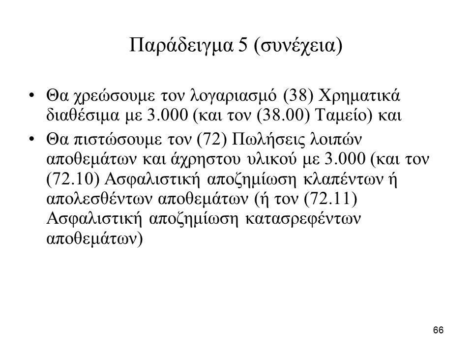 66 Παράδειγμα 5 (συνέχεια) Θα χρεώσουμε τον λογαριασμό (38) Χρηματικά διαθέσιμα με 3.000 (και τον (38.00) Ταμείο) και Θα πιστώσουμε τον (72) Πωλήσεις λοιπών αποθεμάτων και άχρηστου υλικού με 3.000 (και τον (72.10) Ασφαλιστική αποζημίωση κλαπέντων ή απολεσθέντων αποθεμάτων (ή τον (72.11) Ασφαλιστική αποζημίωση κατασρεφέντων αποθεμάτων)