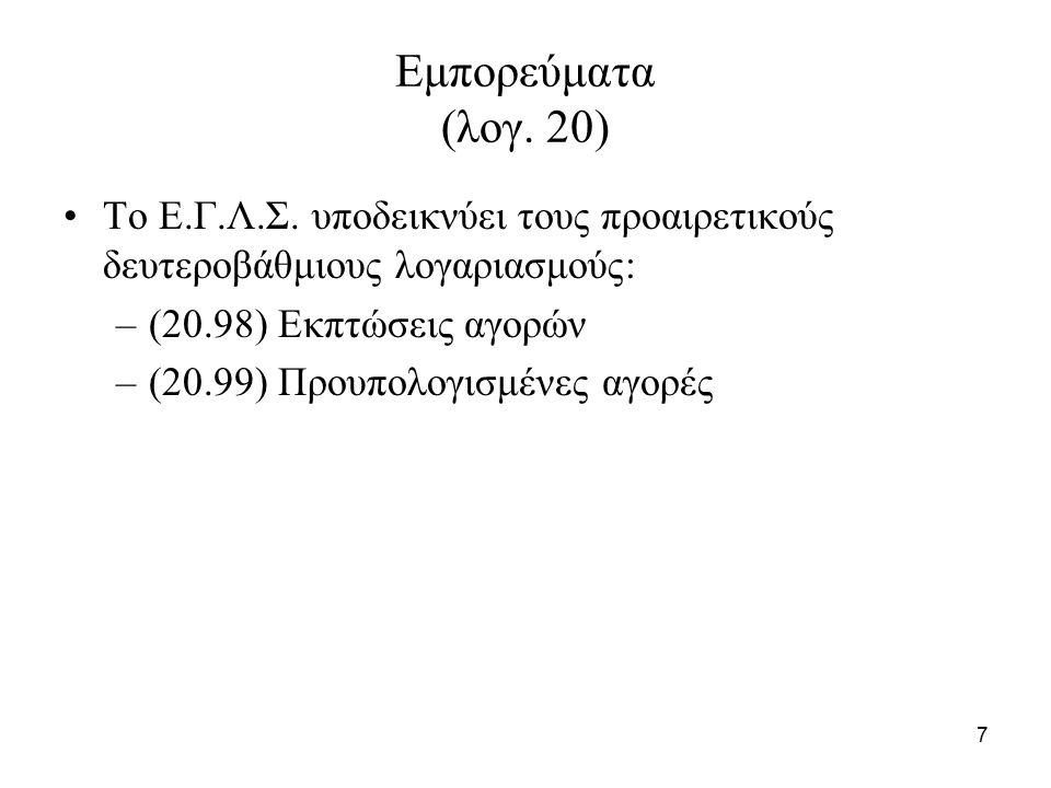 7 Εμπορεύματα (λογ. 20) Το Ε.Γ.Λ.Σ.