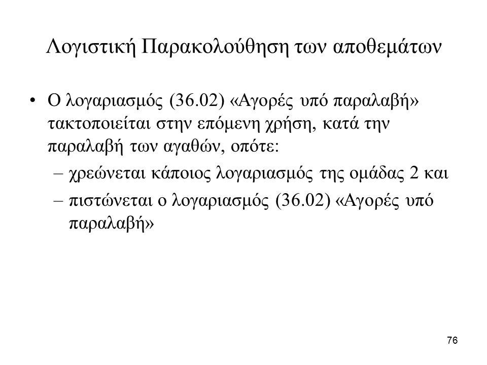 76 Λογιστική Παρακολούθηση των αποθεμάτων Ο λογαριασμός (36.02) «Αγορές υπό παραλαβή» τακτοποιείται στην επόμενη χρήση, κατά την παραλαβή των αγαθών, οπότε: –χρεώνεται κάποιος λογαριασμός της ομάδας 2 και –πιστώνεται ο λογαριασμός (36.02) «Αγορές υπό παραλαβή»