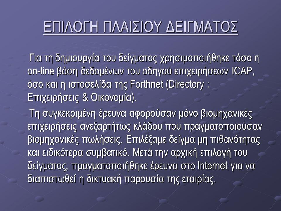 ΕΠΙΛΟΓΗ ΠΛΑΙΣΙΟΥ ΔΕΙΓΜΑΤΟΣ Για τη δημιουργία του δείγματος χρησιμοποιήθηκε τόσο η on-line βάση δεδομένων του οδηγού επιχειρήσεων ICAP, όσο και η ιστοσελίδα της Forthnet (Directory : Επιχειρήσεις & Οικονομία).