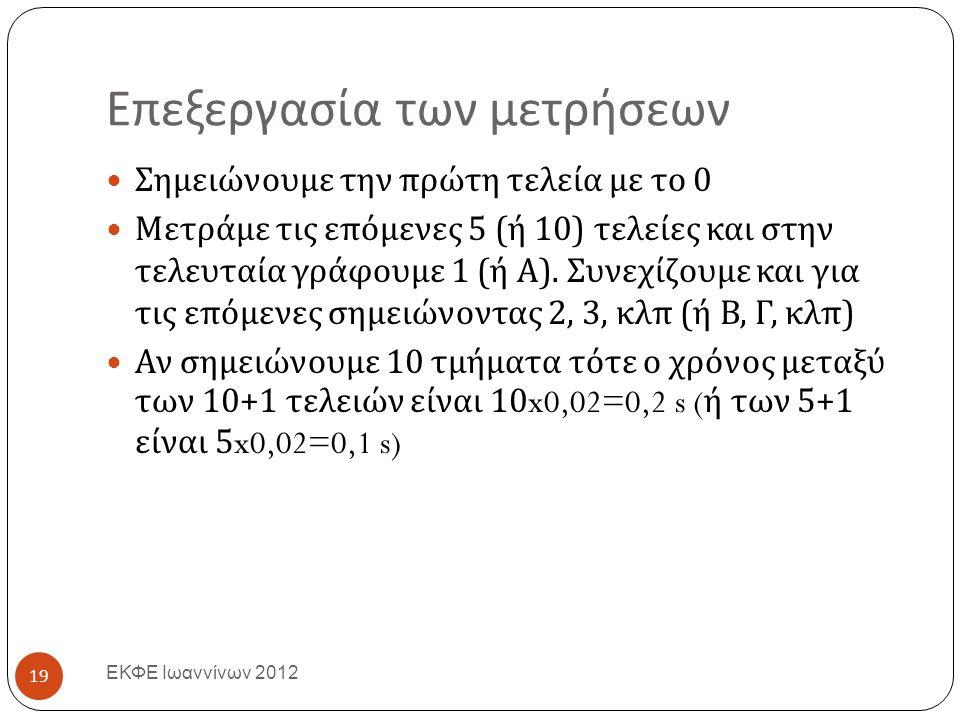 Επεξεργασία των μετρήσεων ΕΚΦΕ Ιωαννίνων 2012 Σημειώνουμε την πρώτη τελεία με το 0 Μετράμε τις επόμενες 5 ( ή 10) τελείες και στην τελευταία γράφουμε 1 ( ή Α ).