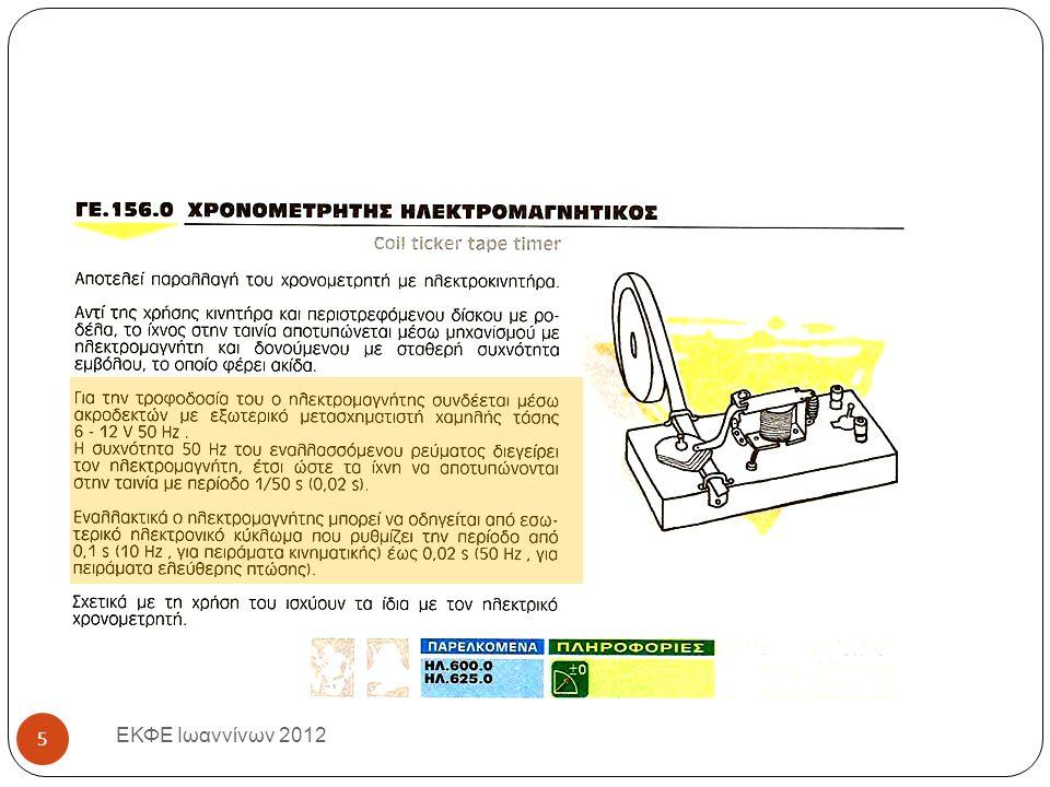 Επεξεργασία των μετρήσεων (3) ( Για το σπίτι ) ΕΚΦΕ Ιωαννίνων 2012 Κατασκευάζουμε τα γραφήματα υ -t και x-t σε μιλλιμετρέ χαρτί Απαντούμε στις ερωτήσεις του Φύλλου Εργασίας : Τι παριστάνει η κλίση της ευθείας στο διάγραμμα υ -t; Πόση είναι η συνολική απόσταση που διανύθηκε ; Πόση είναι η μέση ταχύτητα ; 26