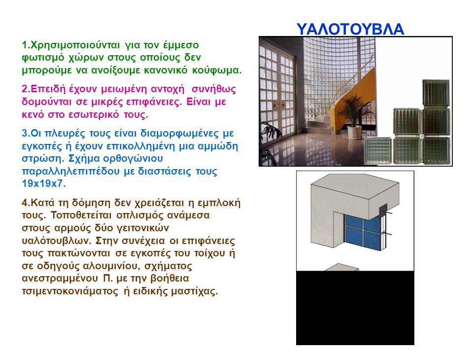 ΥΑΛΟΤΟΥΒΛΑ 1.Χρησιμοποιούνται για τον έμμεσο φωτισμό χώρων στους οποίους δεν μπορούμε να ανοίξουμε κανονικό κούφωμα. 2.Επειδή έχουν μειωμένη αντοχή συ