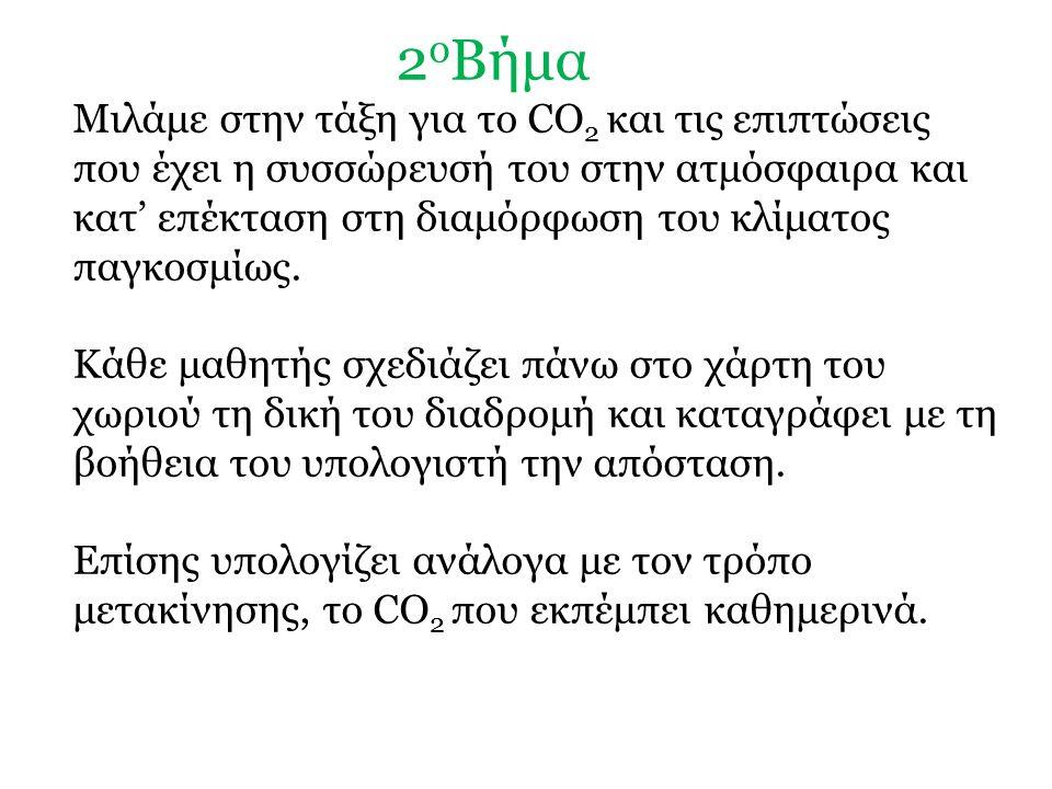 2 ο Βήμα Μιλάμε στην τάξη για το CO 2 και τις επιπτώσεις που έχει η συσσώρευσή του στην ατμόσφαιρα και κατ' επέκταση στη διαμόρφωση του κλίματος παγκοσμίως.