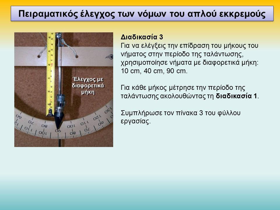 Πειραματικός έλεγχος των νόμων του απλού εκκρεμούς Διαδικασία 3 Για να ελέγξεις την επίδραση του μήκους του νήματος στην περίοδο της ταλάντωσης, χρησιμοποίησε νήματα με διαφορετικά μήκη: 10 cm, 40 cm, 90 cm.