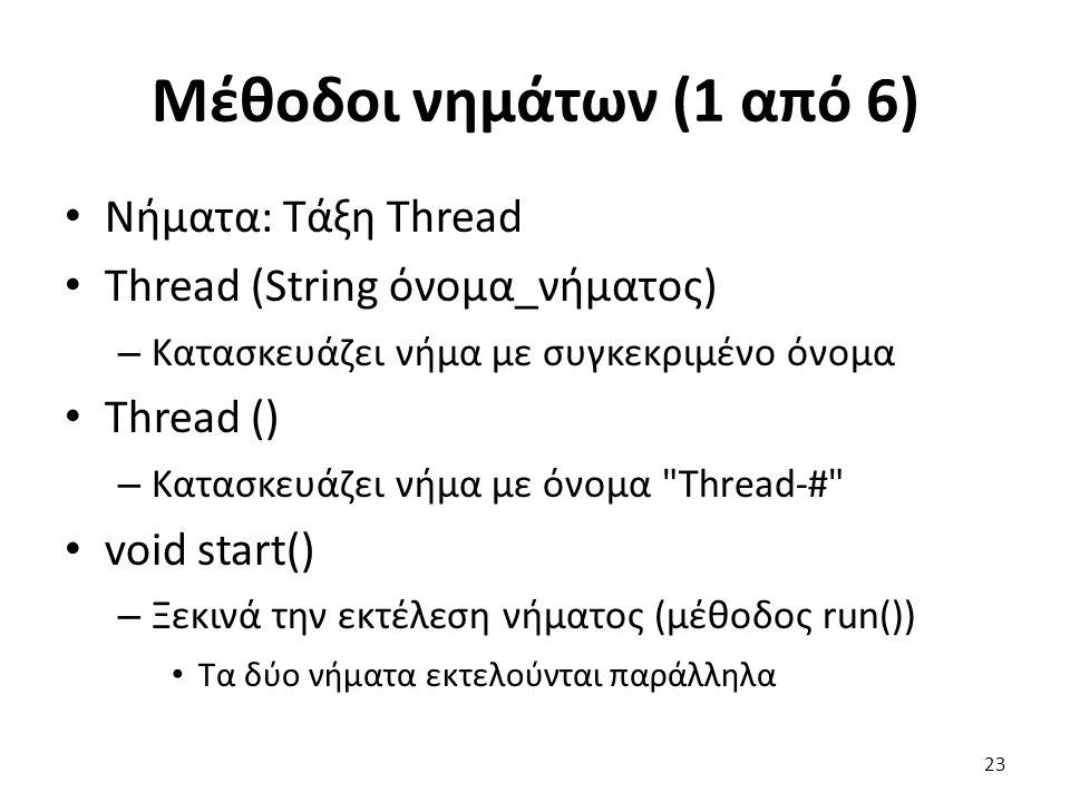 Μέθοδοι νημάτων (1 από 6) Νήματα: Τάξη Thread Thread (String όνομα_νήματος) – Κατασκευάζει νήμα με συγκεκριμένο όνομα Thread () – Κατασκευάζει νήμα με όνομα Thread-# void start() – Ξεκινά την εκτέλεση νήματος (μέθοδος run()) Τα δύο νήματα εκτελούνται παράλληλα 23