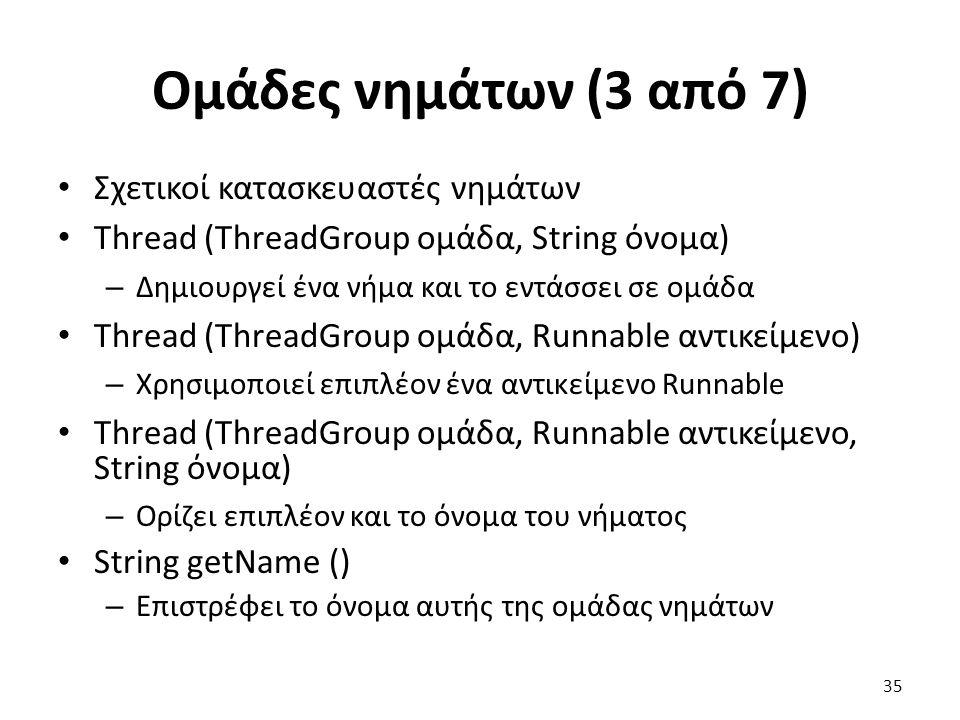 Ομάδες νημάτων (3 από 7) Σχετικοί κατασκευαστές νημάτων Thread (ThreadGroup ομάδα, String όνομα) – Δημιουργεί ένα νήμα και το εντάσσει σε ομάδα Thread (ThreadGroup ομάδα, Runnable αντικείμενο) – Χρησιμοποιεί επιπλέον ένα αντικείμενο Runnable Thread (ThreadGroup ομάδα, Runnable αντικείμενο, String όνομα) – Ορίζει επιπλέον και το όνομα του νήματος String getName () – Επιστρέφει το όνομα αυτής της ομάδας νημάτων 35