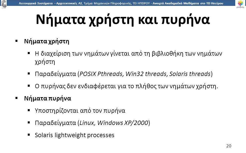 2020 Λειτουργικά Συστήματα – Αρχιτεκτονικές ΛΣ, Τμήμα Μηχανικών Πληροφορικής, ΤΕΙ ΗΠΕΙΡΟΥ - Ανοιχτά Ακαδημαϊκά Μαθήματα στο ΤΕΙ Ηπείρου Νήματα χρήστη και πυρήνα  Νήματα χρήστη  Η διαχείριση των νημάτων γίνεται από τη βιβλιοθήκη των νημάτων χρήστη  Παραδείγματα (POSIX Pthreads, Win32 threads, Solaris threads)  Ο πυρήνας δεν ενδιαφέρεται για το πλήθος των νημάτων χρήστη.