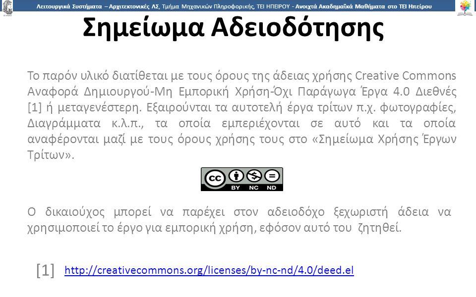 3737 Λειτουργικά Συστήματα – Αρχιτεκτονικές ΛΣ, Τμήμα Μηχανικών Πληροφορικής, ΤΕΙ ΗΠΕΙΡΟΥ - Ανοιχτά Ακαδημαϊκά Μαθήματα στο ΤΕΙ Ηπείρου Σημείωμα Αδειοδότησης Το παρόν υλικό διατίθεται με τους όρους της άδειας χρήσης Creative Commons Αναφορά Δημιουργού-Μη Εμπορική Χρήση-Όχι Παράγωγα Έργα 4.0 Διεθνές [1] ή μεταγενέστερη.