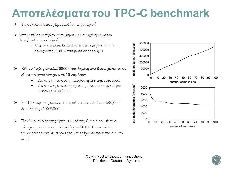 Αποτελέσματα του TPC-C benchmark  To συνολικό throughput αυξάνεται γραμμικά  Mεγάλη πτώση μεταξύ του throughput για ένα μηχάνημα και του throughput για δυο μηχανήματα  λόγω της επιπλέον δουλειάς που πρέπει να γίνει από τον επεξεργαστή για κάθε multipartition δοσοληψία  Κάθε κόμβος εκτελεί 5000 δοσοληψίες ανά δευτερόλεπτο σε clusters μεγαλύτερα από 10 κόμβους ● Λόγω στην απουσία κάποιου agreement protocol ● Λόγω ελαχιστοποίησης του χρόνου που κρατά μια δοσοληψία τα locks  Με 100 κόμβους σε ένα δευτερόλεπτο εκτελούνται 500,000 δοσοληψίες (100*5000)  Πολύ κοντινό throughput με αυτό της Oracle που είναι ο κάτοχος του παγκόσμιου ρεκόρ με 504,161 new order transactions ανά δευτερόλεπτο και τρέχει σε πολύ πιο δυνατό υλικό 28 Calvin: Fast Distributed Transactions for Partitioned Database Systems