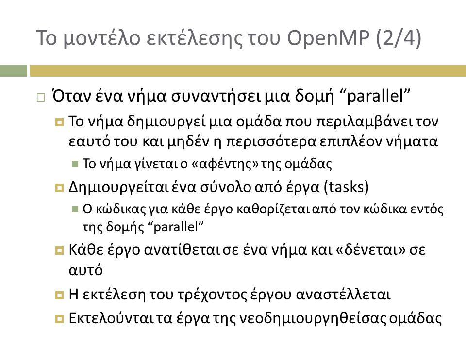 Το μοντέλο εκτέλεσης του OpenMP (2/4)  Όταν ένα νήμα συναντήσει μια δομή parallel  Το νήμα δημιουργεί μια ομάδα που περιλαμβάνει τον εαυτό του και μηδέν η περισσότερα επιπλέον νήματα Το νήμα γίνεται ο «αφέντης» της ομάδας  Δημιουργείται ένα σύνολο από έργα (tasks) Ο κώδικας για κάθε έργο καθορίζεται από τον κώδικα εντός της δομής parallel  Κάθε έργο ανατίθεται σε ένα νήμα και «δένεται» σε αυτό  Η εκτέλεση του τρέχοντος έργου αναστέλλεται  Εκτελούνται τα έργα της νεοδημιουργηθείσας ομάδας