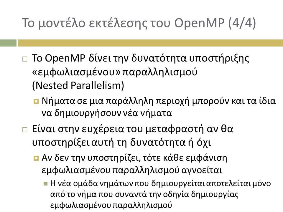 Το μοντέλο εκτέλεσης του OpenMP (4/4)  Το OpenMP δίνει την δυνατότητα υποστήριξης «εμφωλιασμένου» παραλληλισμού (Nested Parallelism)  Νήματα σε μια παράλληλη περιοχή μπορούν και τα ίδια να δημιουργήσουν νέα νήματα  Είναι στην ευχέρεια του μεταφραστή αν θα υποστηρίξει αυτή τη δυνατότητα ή όχι  Αν δεν την υποστηρίζει, τότε κάθε εμφάνιση εμφωλιασμένου παραλληλισμού αγνοείται Η νέα ομάδα νημάτων που δημιουργείται αποτελείται μόνο από το νήμα που συναντά την οδηγία δημιουργίας εμφωλιασμένου παραλληλισμού