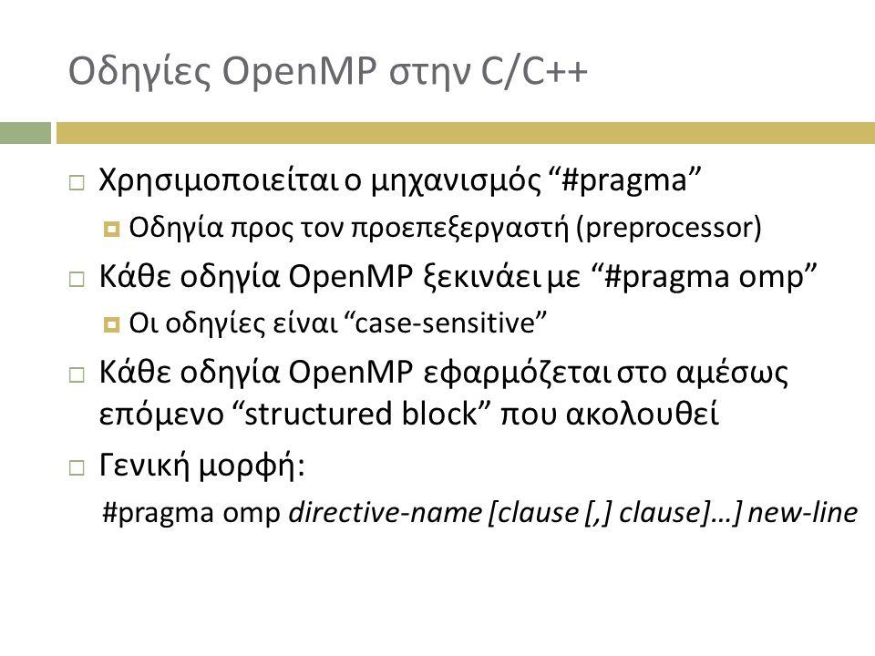 Οδηγίες OpenMP στην C/C++  Χρησιμοποιείται ο μηχανισμός #pragma  Οδηγία προς τον προεπεξεργαστή (preprocessor)  Κάθε οδηγία OpenMP ξεκινάει με #pragma omp  Οι οδηγίες είναι case-sensitive  Κάθε οδηγία OpenMP εφαρμόζεται στο αμέσως επόμενο structured block που ακολουθεί  Γενική μορφή: #pragma omp directive-name [clause [,] clause]…] new-line