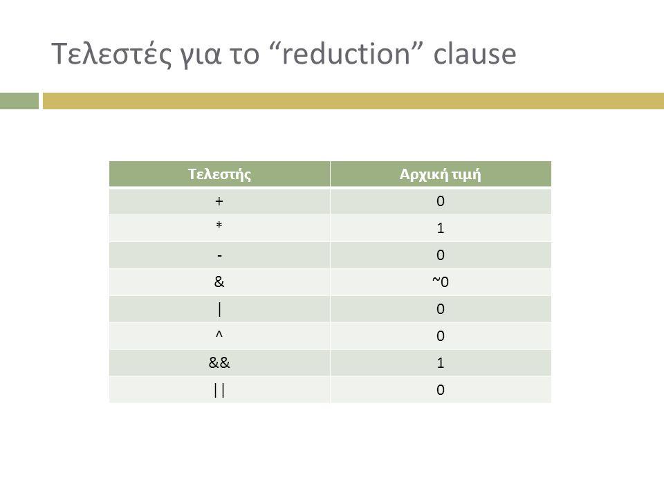 Τελεστές για το reduction clause ΤελεστήςΑρχική τιμή +0 *1 -0 &~0 |0 ^0 &&1 ||0