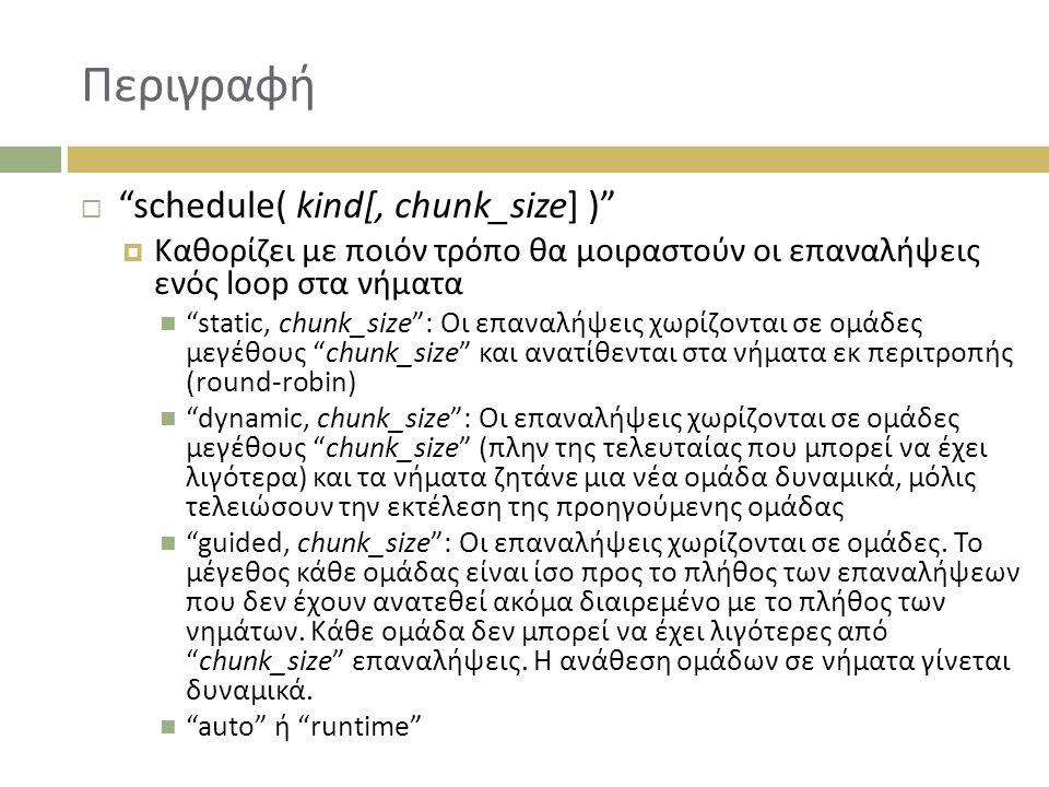 Περιγραφή  schedule( kind[, chunk_size] )  Καθορίζει με ποιόν τρόπο θα μοιραστούν οι επαναλήψεις ενός loop στα νήματα static, chunk_size : Οι επαναλήψεις χωρίζονται σε ομάδες μεγέθους chunk_size και ανατίθενται στα νήματα εκ περιτροπής (round-robin) dynamic, chunk_size : Οι επαναλήψεις χωρίζονται σε ομάδες μεγέθους chunk_size (πλην της τελευταίας που μπορεί να έχει λιγότερα) και τα νήματα ζητάνε μια νέα ομάδα δυναμικά, μόλις τελειώσουν την εκτέλεση της προηγούμενης ομάδας guided, chunk_size : Οι επαναλήψεις χωρίζονται σε ομάδες.