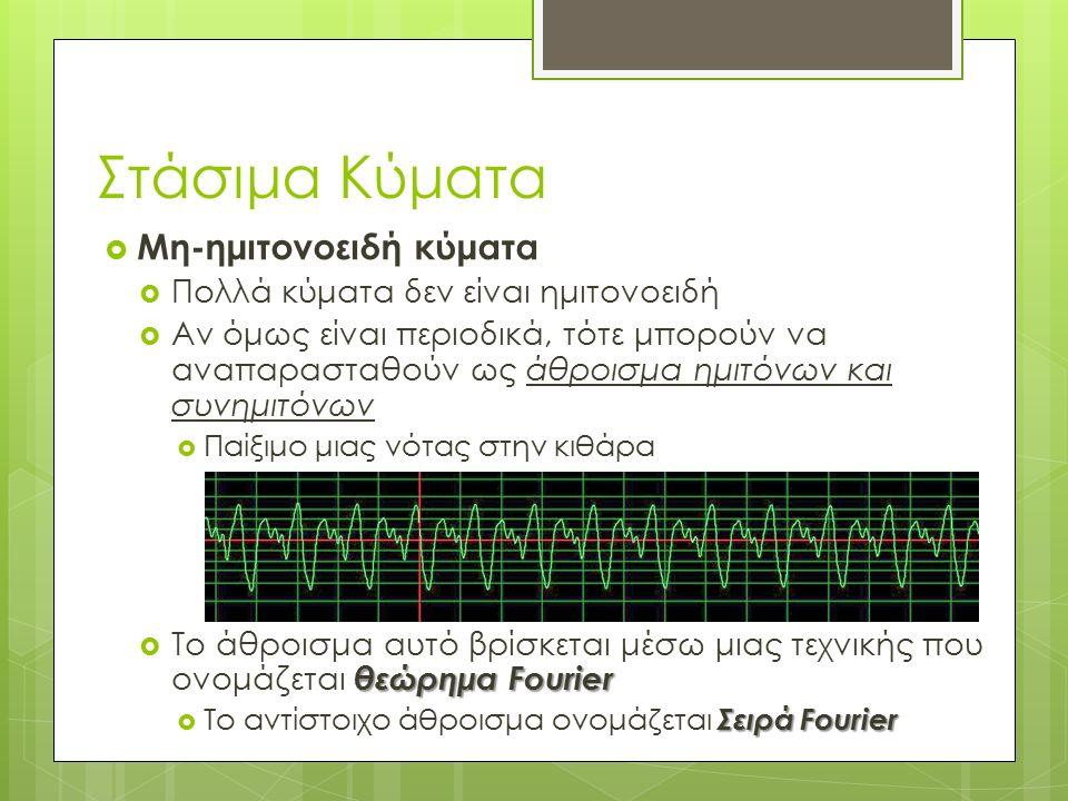  Μη-ημιτονοειδή κύματα  Πολλά κύματα δεν είναι ημιτονοειδή  Αν όμως είναι περιοδικά, τότε μπορούν να αναπαρασταθούν ως άθροισμα ημιτόνων και συνημιτόνων  Παίξιμο μιας νότας στην κιθάρα θεώρημα Fourier  Το άθροισμα αυτό βρίσκεται μέσω μιας τεχνικής που ονομάζεται θεώρημα Fourier Σειρά Fourier  Το αντίστοιχο άθροισμα ονομάζεται Σειρά Fourier