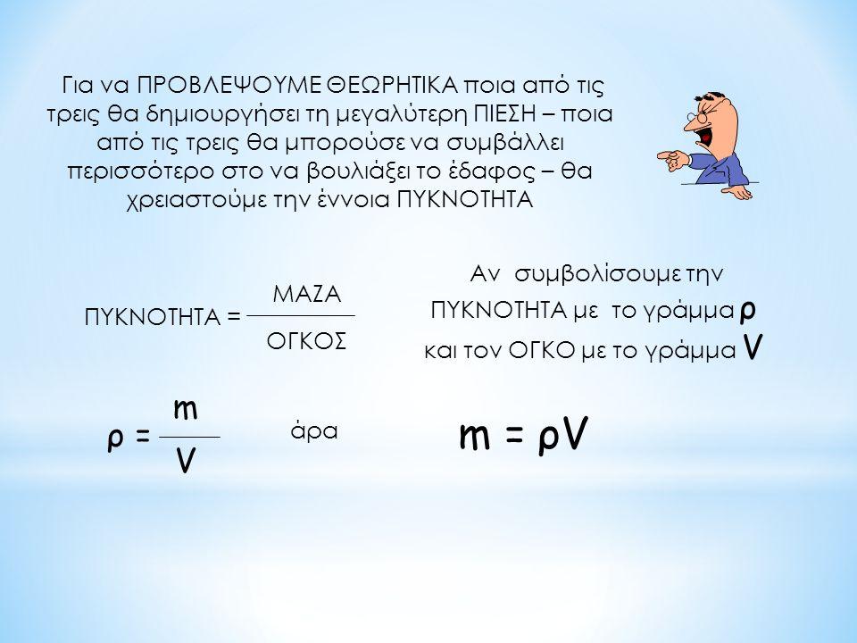 τρεις τσιμεντοκολώνες στο έδαφος ποια από τις τρεις δημιουργεί μεγαλύτερη ΠΙΕΣΗ στη βάση της ; ; ; ; ποια από τις τρεις θα μπορούσε να συμβάλει περισσότερο στο «να υποχωρήσει το έδαφος» ; Στη γλώσσα της Φυσικής το ερώτημα θα μπορούσε να διατυπωθεί :