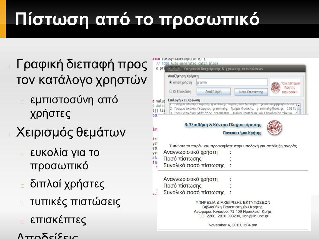 Πίστωση από το προσωπικό Γραφική διεπαφή προς τον κατάλογο χρηστών εμπιστοσύνη από χρήστες Χειρισμός θεμάτων ευκολία για το προσωπικό διπλοί χρήστες τυπικές πιστώσεις επισκέπτες Αποδείξεις