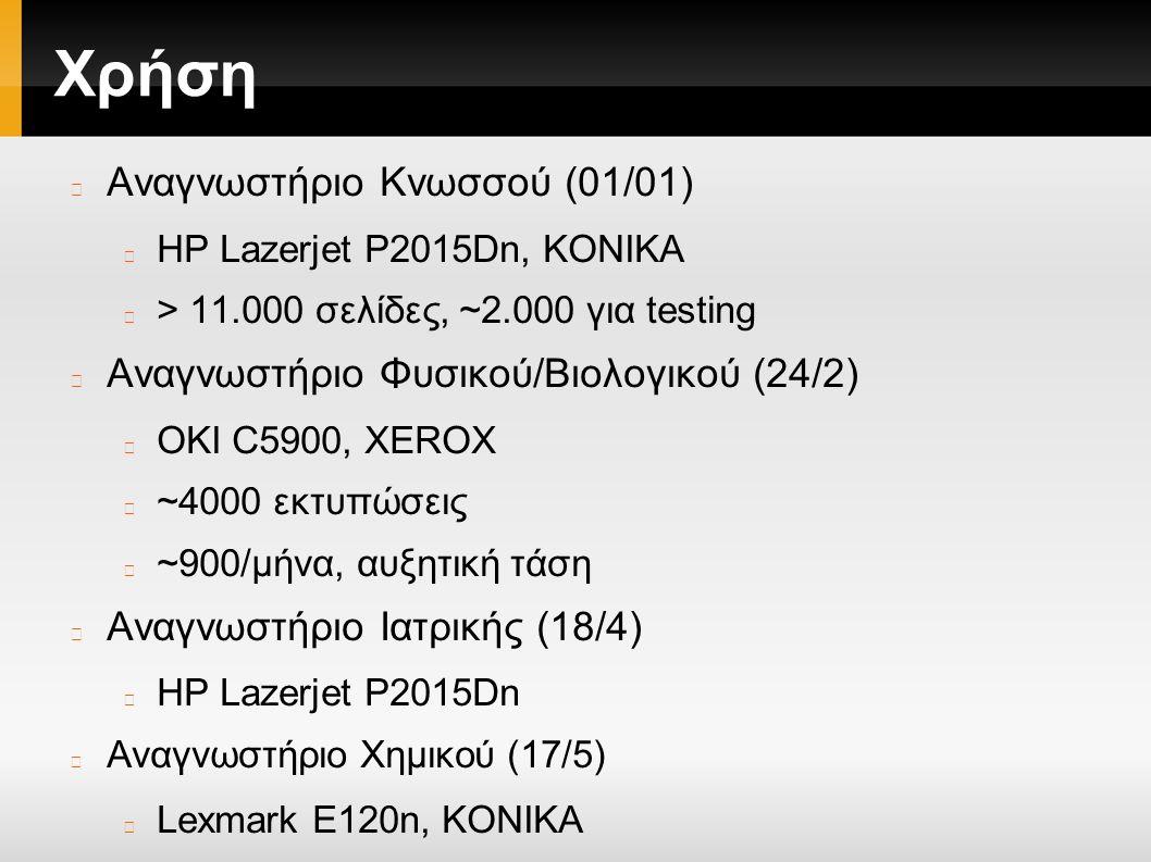Χρήση Αναγνωστήριο Κνωσσού (01/01) HP Lazerjet P2015Dn, ΚΟΝΙΚΑ > 11.000 σελίδες, ~2.000 για testing Αναγνωστήριο Φυσικού/Βιολογικού (24/2) OKI C5900, ΧΕRΟΧ ~4000 εκτυπώσεις ~900/μήνα, αυξητική τάση Αναγνωστήριο Ιατρικής (18/4) HP Lazerjet P2015Dn Αναγνωστήριο Χημικού (17/5) Lexmark E120n, KONIKA