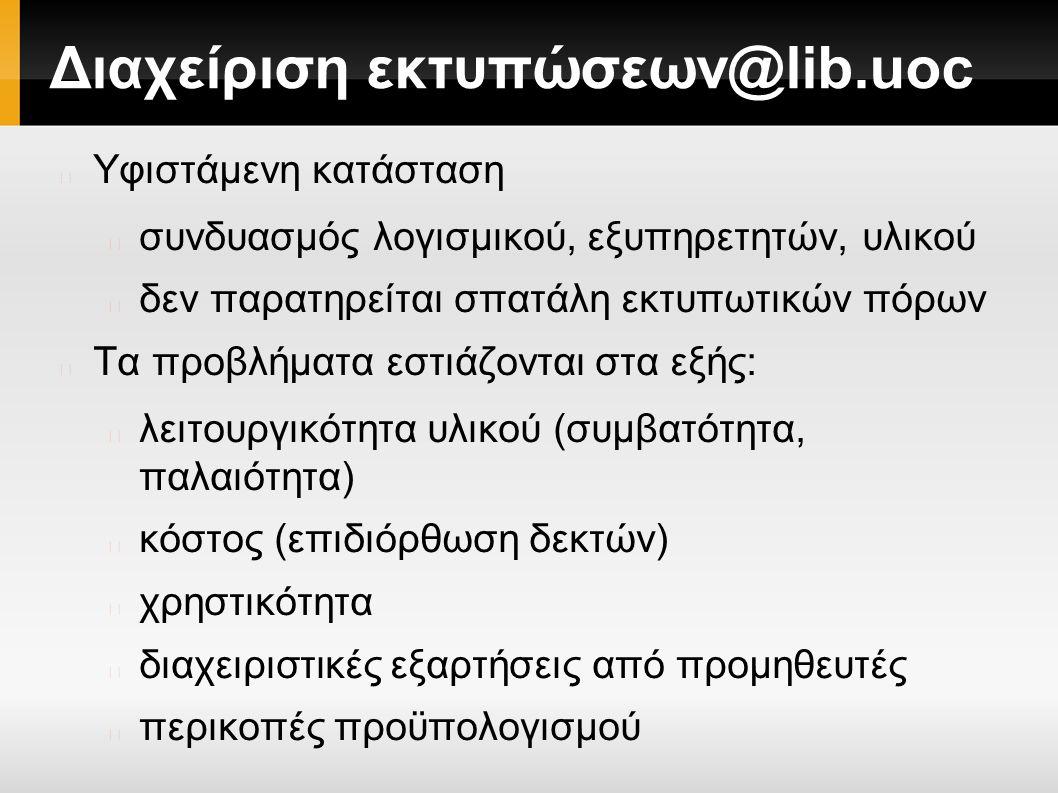 Διαχείριση εκτυπώσεων@lib.uoc Υφιστάμενη κατάσταση συνδυασμός λογισμικού, εξυπηρετητών, υλικού δεν παρατηρείται σπατάλη εκτυπωτικών πόρων Τα προβλήματα εστιάζονται στα εξής: λειτουργικότητα υλικού (συμβατότητα, παλαιότητα) κόστος (επιδιόρθωση δεκτών) χρηστικότητα διαχειριστικές εξαρτήσεις από προμηθευτές περικοπές προϋπολογισμού