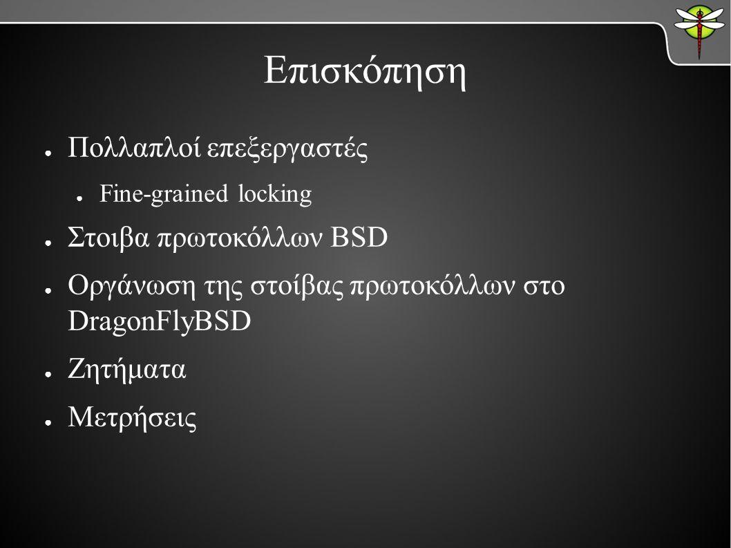 Επισκόπηση ● Πολλαπλοί επεξεργαστές ● Fine-grained locking ● Στοιβα πρωτοκόλλων BSD ● Οργάνωση της στοίβας πρωτοκόλλων στο DragonFlyBSD ● Ζητήματα ● Μετρήσεις