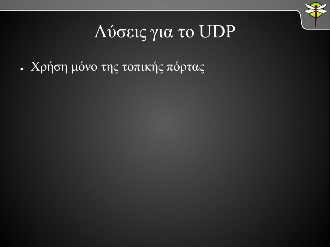 Λύσεις για το UDP ● Χρήση μόνο της τοπικής πόρτας