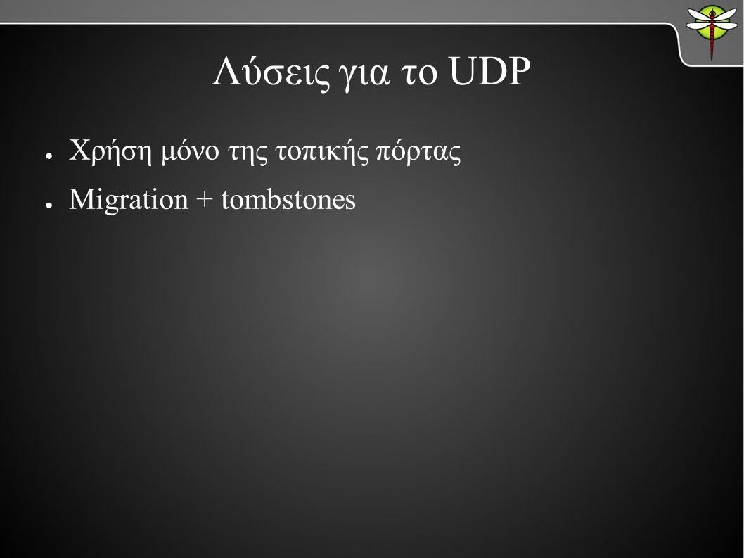 Λύσεις για το UDP ● Χρήση μόνο της τοπικής πόρτας ● Migration + tombstones