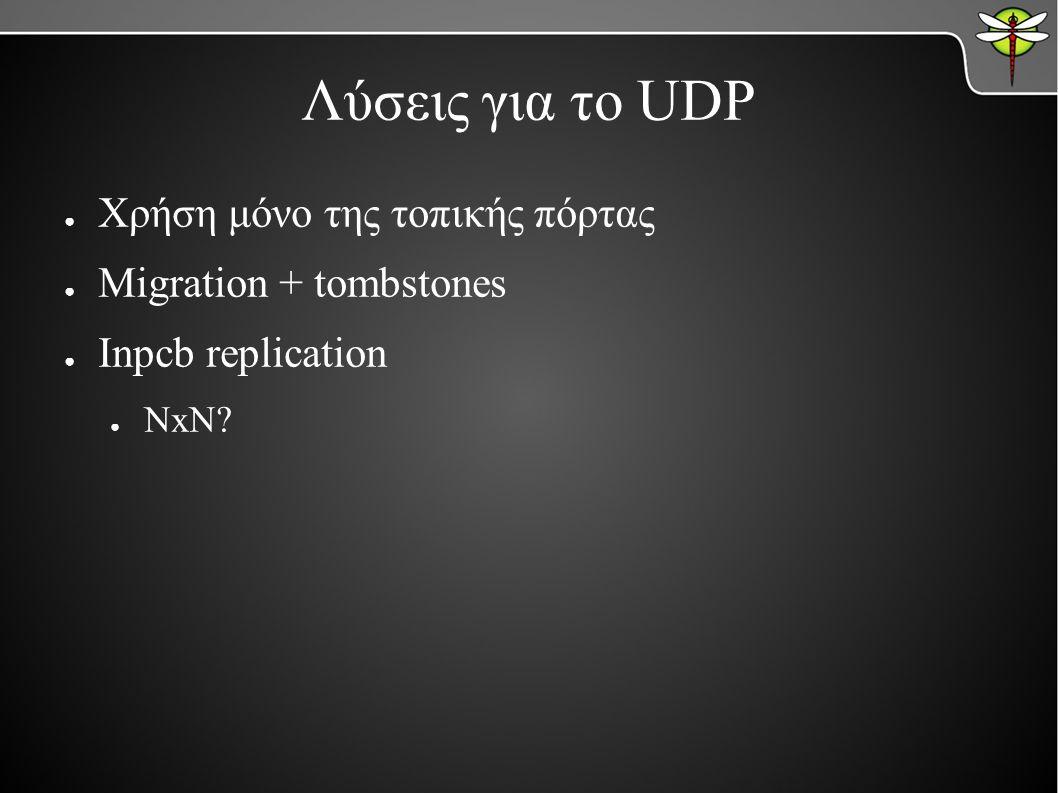 Λύσεις για το UDP ● Χρήση μόνο της τοπικής πόρτας ● Migration + tombstones ● Inpcb replication ● NxN?