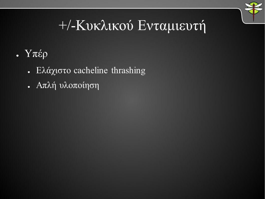 +/-Κυκλικού Ενταμιευτή ● Υπέρ ● Ελάχιστο cacheline thrashing ● Απλή υλοποίηση