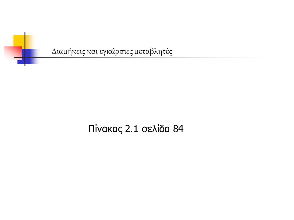 Διαμήκεις και εγκάρσιες μεταβλητές Πίνακας 2.1 σελίδα 84