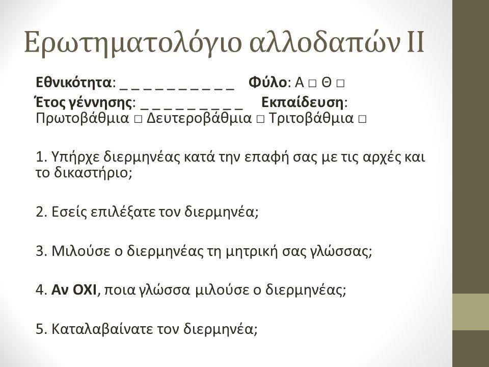 Ερωτηματολόγιο αλλοδαπών II Εθνικότητα: _ _ _ _ _ _ _ _ _ _ Φύλο: Α □ Θ □ Έτος γέννησης: _ _ _ _ _ _ _ _ _ Εκπαίδευση: Πρωτοβάθμια □ Δευτεροβάθμια □ Τριτοβάθμια □ 1.