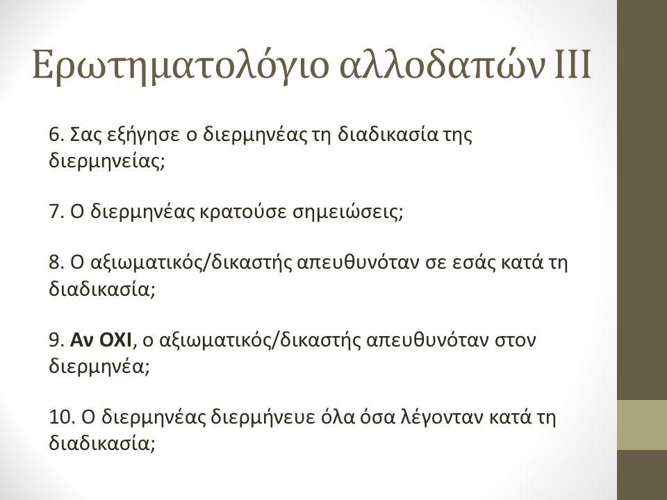 Ερωτηματολόγιο αλλοδαπών III 6.Σας εξήγησε ο διερμηνέας τη διαδικασία της διερμηνείας; 7.