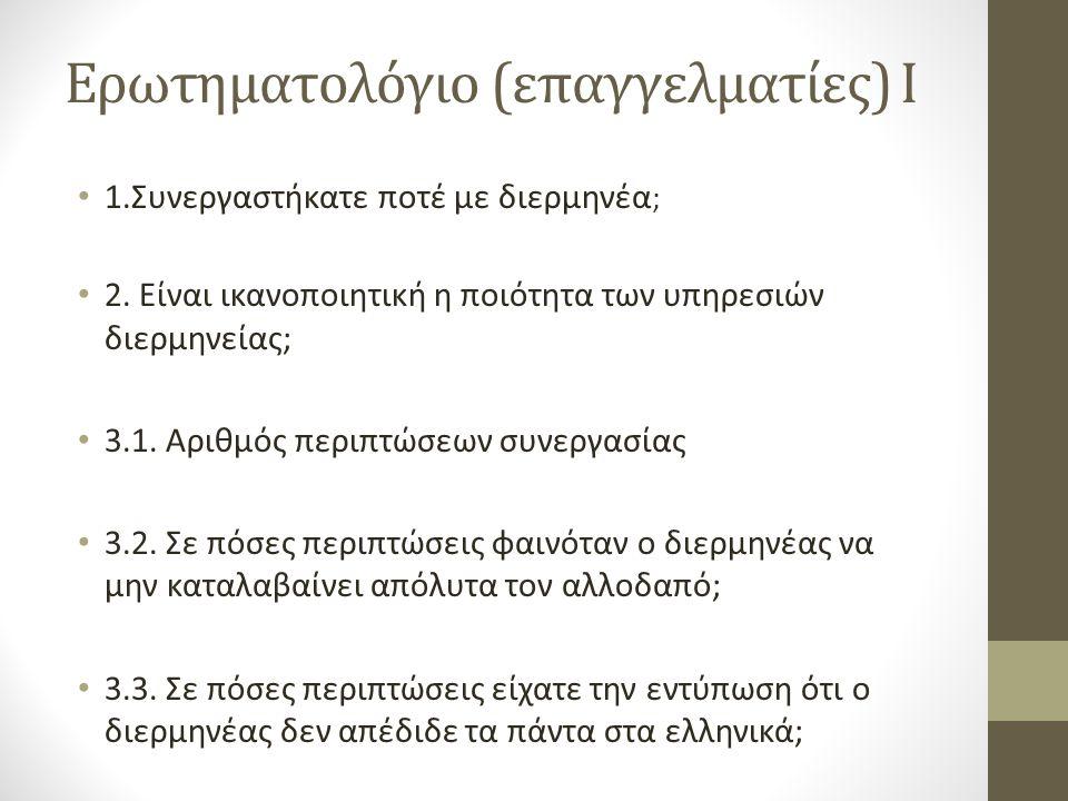 Ερωτηματολόγιο (επαγγελματίες) I 1.Συνεργαστήκατε ποτέ με διερμηνέα ; 2.
