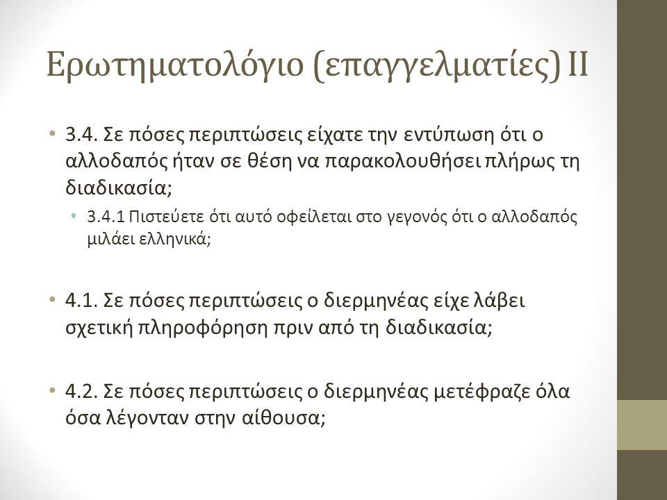 Ερωτηματολόγιο (επαγγελματίες) IΙ 3.4.
