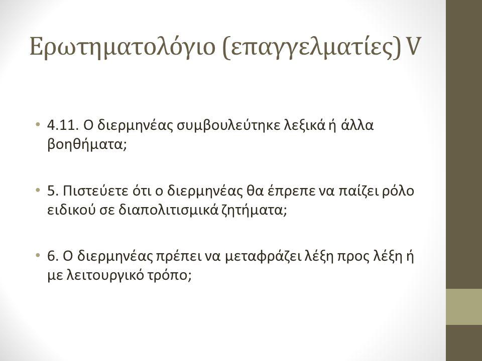 Ερωτηματολόγιο (επαγγελματίες) V 4.11.Ο διερμηνέας συμβουλεύτηκε λεξικά ή άλλα βοηθήματα; 5.