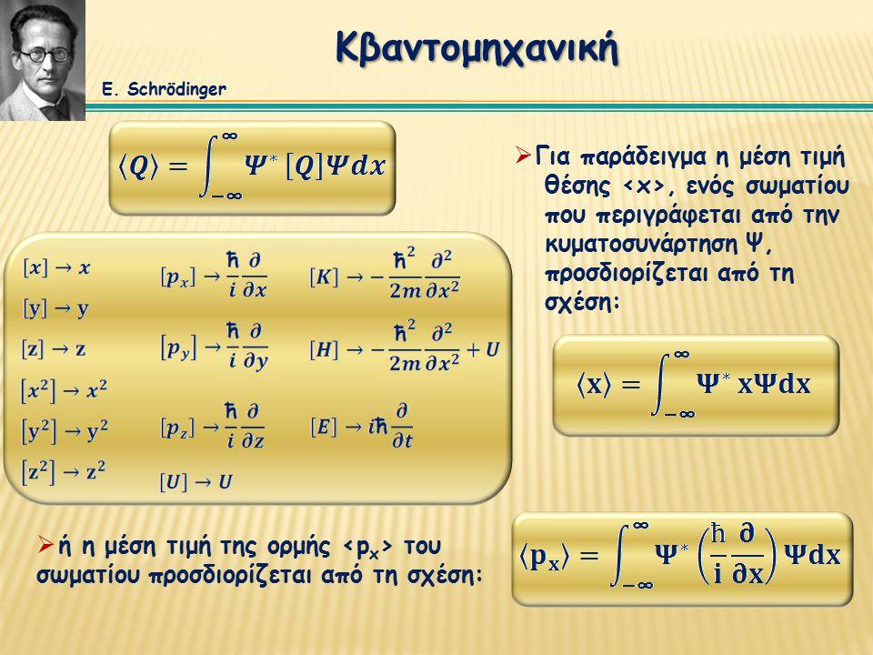Κβαντομηχανική  Για παράδειγμα η μέση τιμή θέσης, ενός σωματίου που περιγράφεται από την κυματοσυνάρτηση Ψ, προσδιορίζεται από τη σχέση:  ή η μέση τιμή της ορμής του σωματίου προσδιορίζεται από τη σχέση: E.