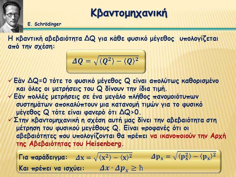 Κβαντομηχανική Η κβαντική αβεβαιότητα ΔQ για κάθε φυσικό μέγεθος υπολογίζεται από την σχέση: Εάν ΔQ=0 τότε το φυσικό μέγεθος Q είναι απολύτως καθορισμένο και όλες οι μετρήσεις του Q δίνουν την ίδια τιμή.