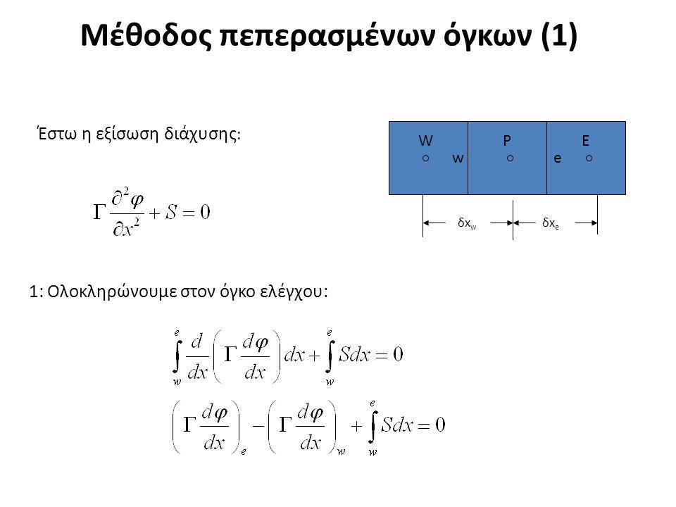 Μέθοδος πεπερασμένων όγκων (1) Έστω η εξίσωση διάχυσης : 1: Ολοκληρώνουμε στον όγκο ελέγχου: ΕPW δxwδxw δxeδxe we