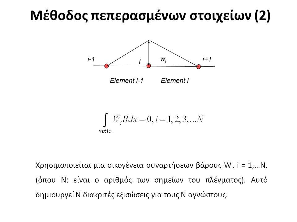 Μέθοδος πεπερασμένων στοιχείων (2) Χρησιμοποιείται μια οικογένεια συναρτήσεων βάρους W i, i = 1,…N, (όπου N: είναι ο αριθμός των σημείων του πλέγματος).