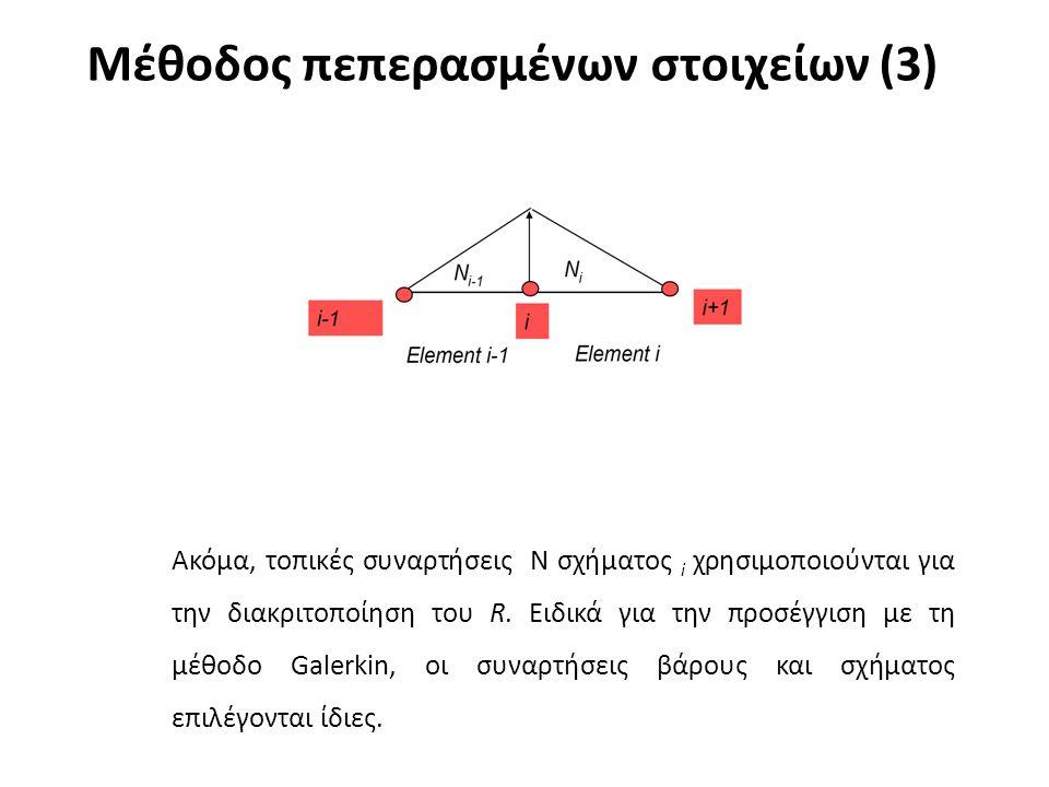 Μέθοδος πεπερασμένων στοιχείων (3) Ακόμα, τοπικές συναρτήσεις Ν σχήματος i χρησιμοποιούνται για την διακριτοποίηση του R. Ειδικά για την προσέγγιση με