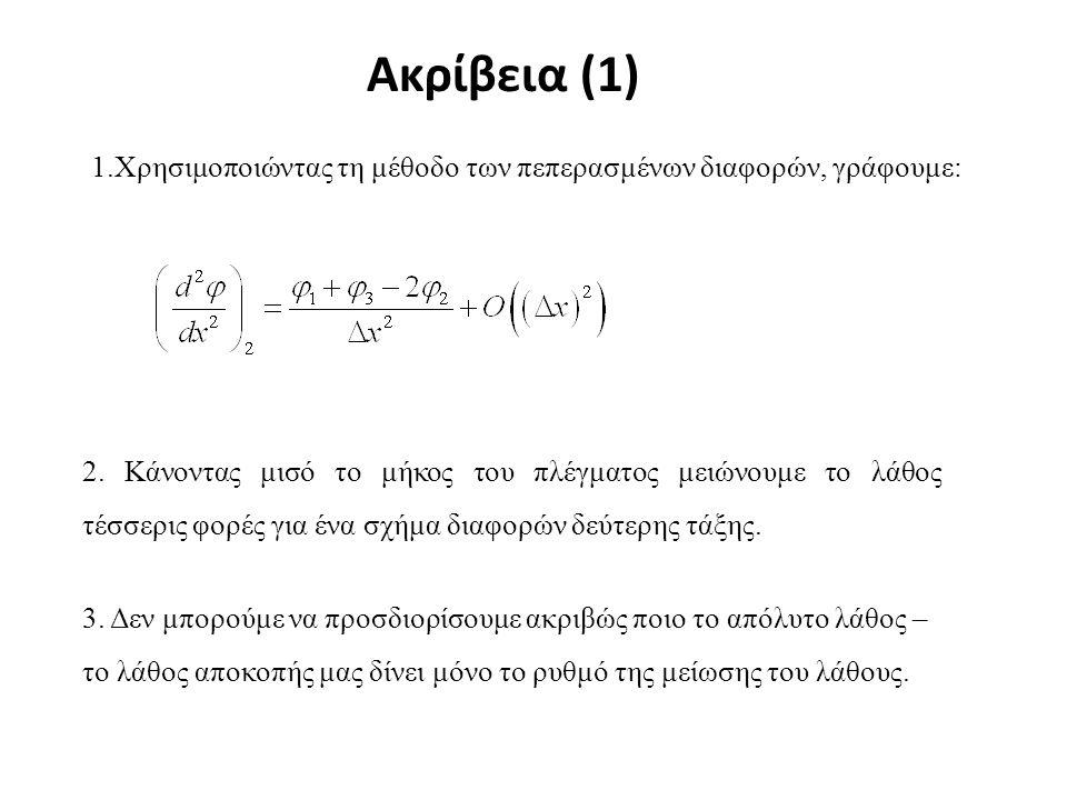 Ακρίβεια (1) 1.Χρησιμοποιώντας τη μέθοδο των πεπερασμένων διαφορών, γράφουμε: 2. Κάνοντας μισό το μήκος του πλέγματος μειώνουμε το λάθος τέσσερις φορέ