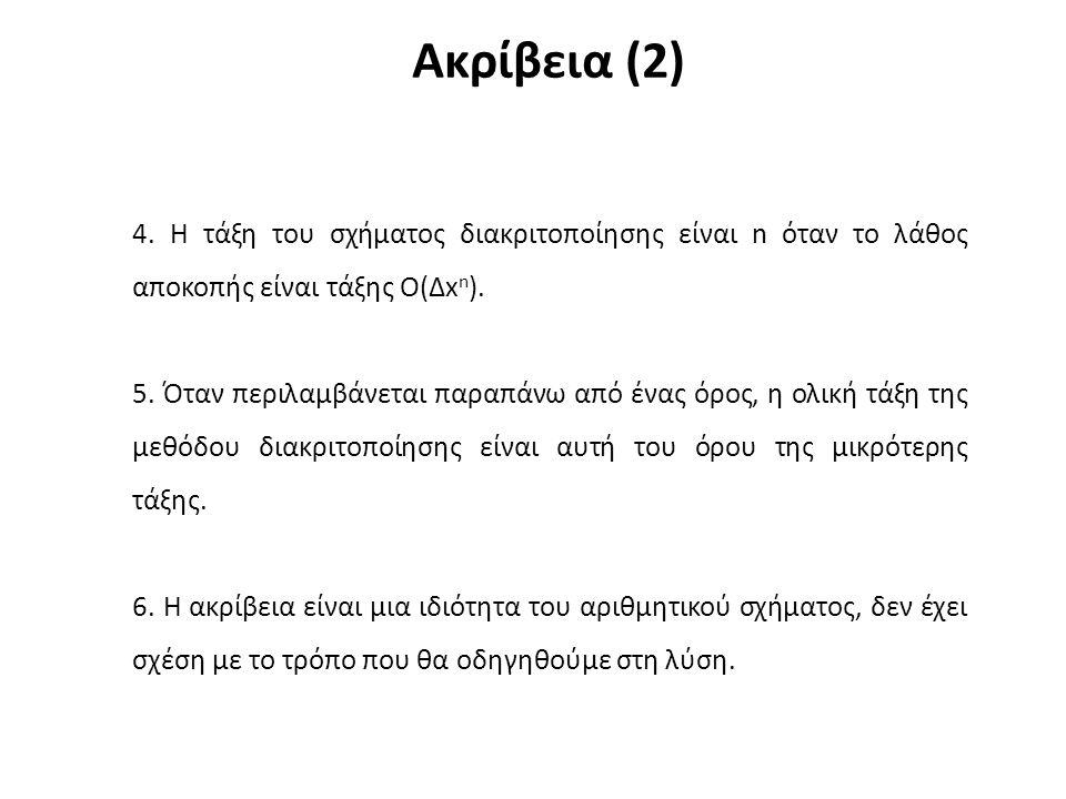 Ακρίβεια (2) 4. Η τάξη του σχήματος διακριτοποίησης είναι n όταν το λάθος αποκοπής είναι τάξης O(Δx n ). 5. Όταν περιλαμβάνεται παραπάνω από ένας όρος
