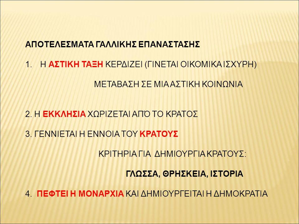 ΑΠΟΤΕΛΕΣΜΑΤΑ ΓΑΛΛΙΚΗΣ ΕΠΑΝΑΣΤΑΣΗΣ 1.Η ΑΣΤΙΚΗ ΤΑΞΗ ΚΕΡΔΙΖΕΙ (ΓΙΝΕΤΑΙ ΟΙΚΟΜΙΚΑ ΙΣΧΥΡΗ) ΜΕΤΑΒΑΣΗ ΣΕ ΜΙΑ ΑΣΤΙΚΗ ΚΟΙΝΩΝΙΑ 2. Η ΕΚΚΛΗΣΙΑ ΧΩΡΙΖΕΤΑΙ ΑΠΌ ΤΟ ΚΡ
